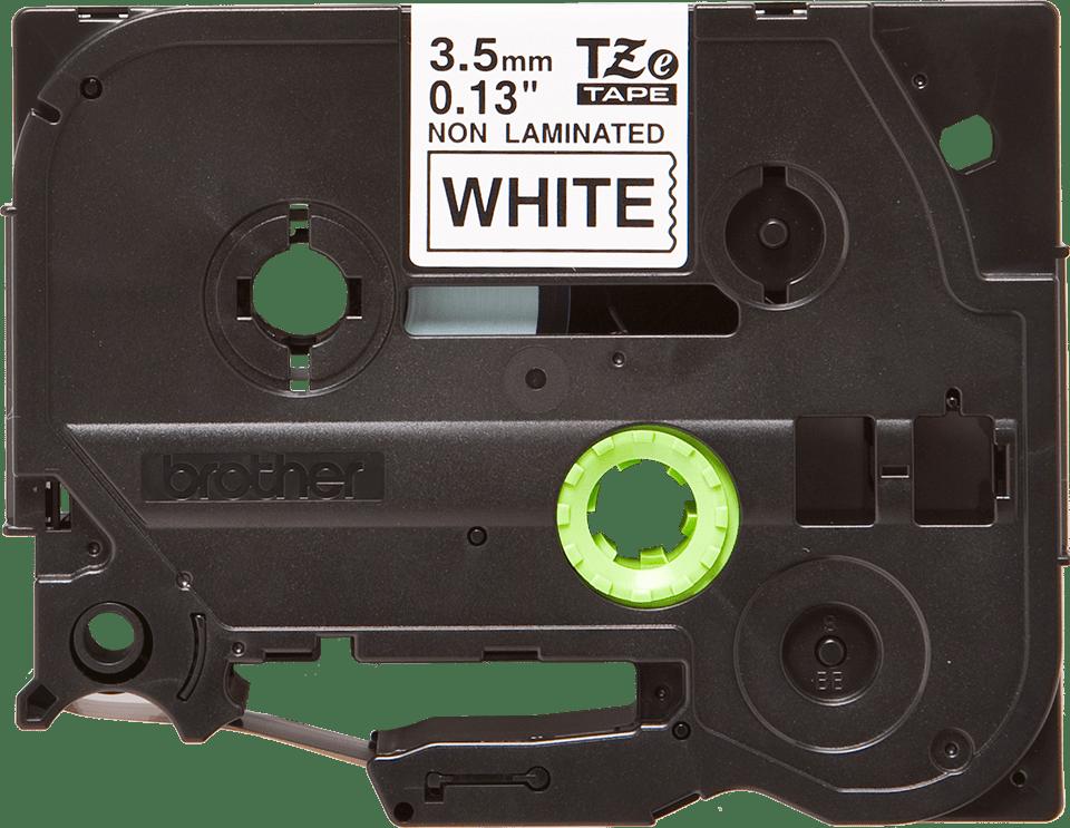 Brother TZeN201: оригинальная кассета с лентой для печати наклеек черным на белом фоне, ширина: 3,5 мм.