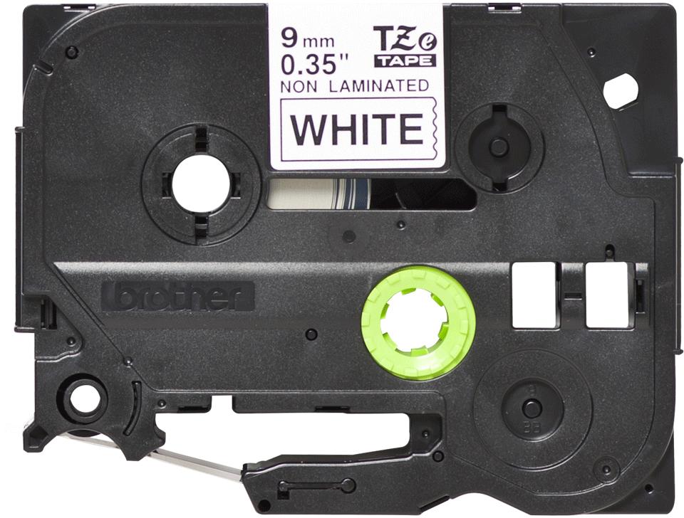 Brother TZeN221: оригинальная лента для печати наклеек черным на белом фоне, 9 мм.