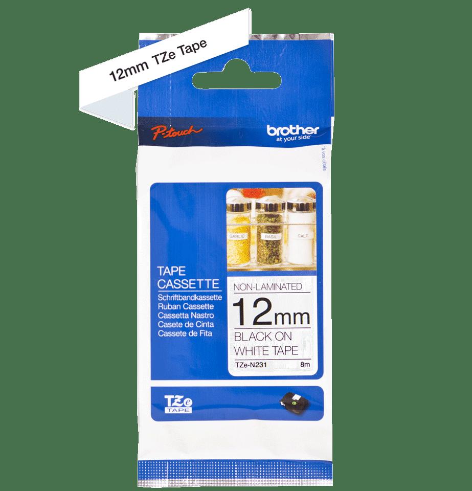 Brother TZeN231: оригинальная кассета с лентой для печати наклеек на принтере PTouch, черным на белом фоне, в одном экземпляре, 12 мм. 2