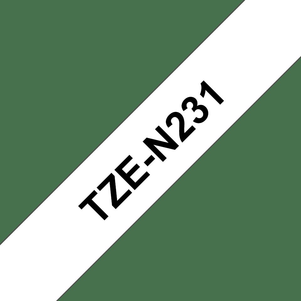 Brother TZeN231: оригинальная неламинированная кассета с лентой для печати наклеек на принтере PTouch, черным на белом фоне, в одном экземпляре, 12 мм. 3