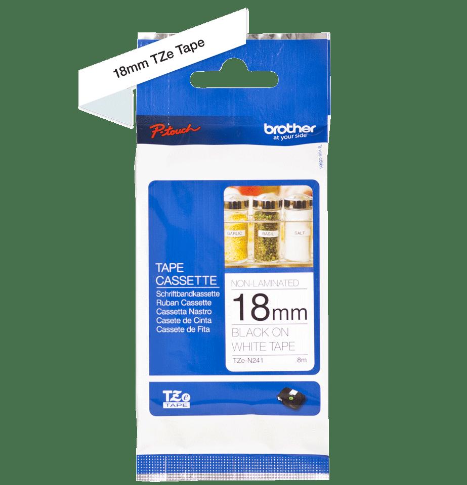 Brother TZeN241: оригинальная кассета с лентой для печати наклеек черным на белом фоне, 18 мм. 2