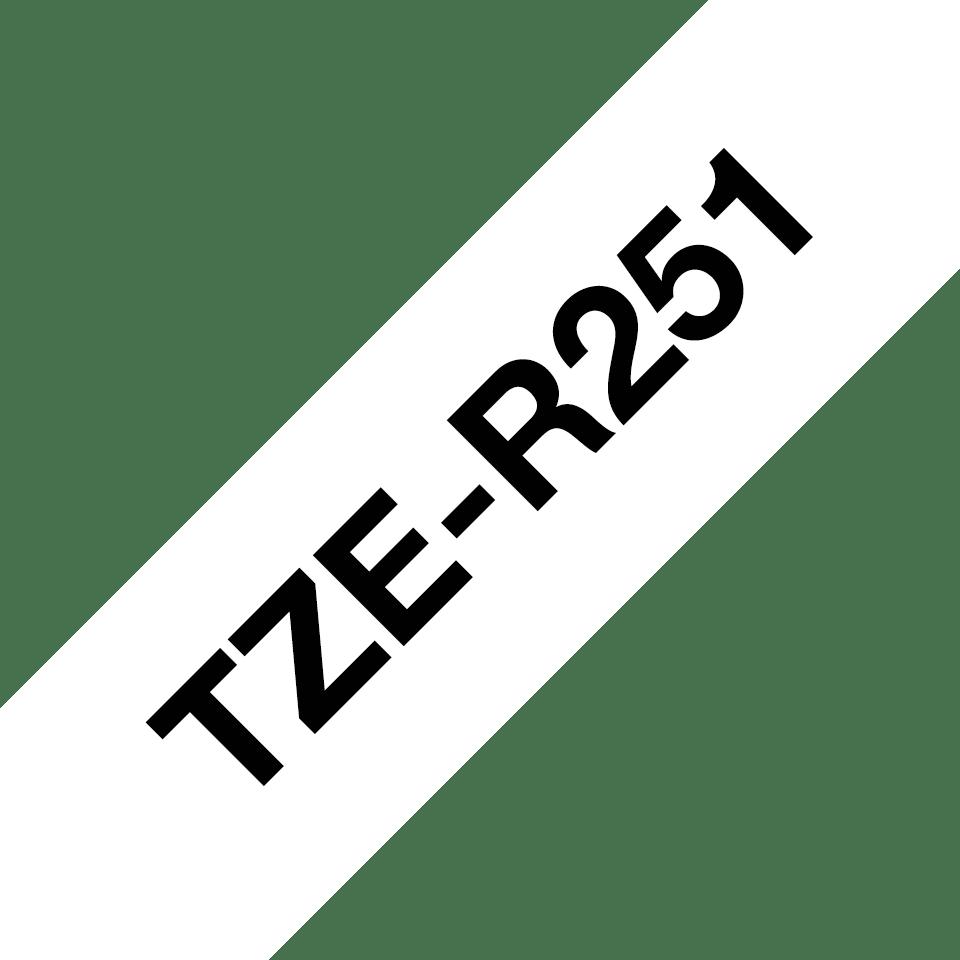 Оригинальная кассета с тканевой лентой TZe-R251 -черный на белом, ширина 24 мм. 3