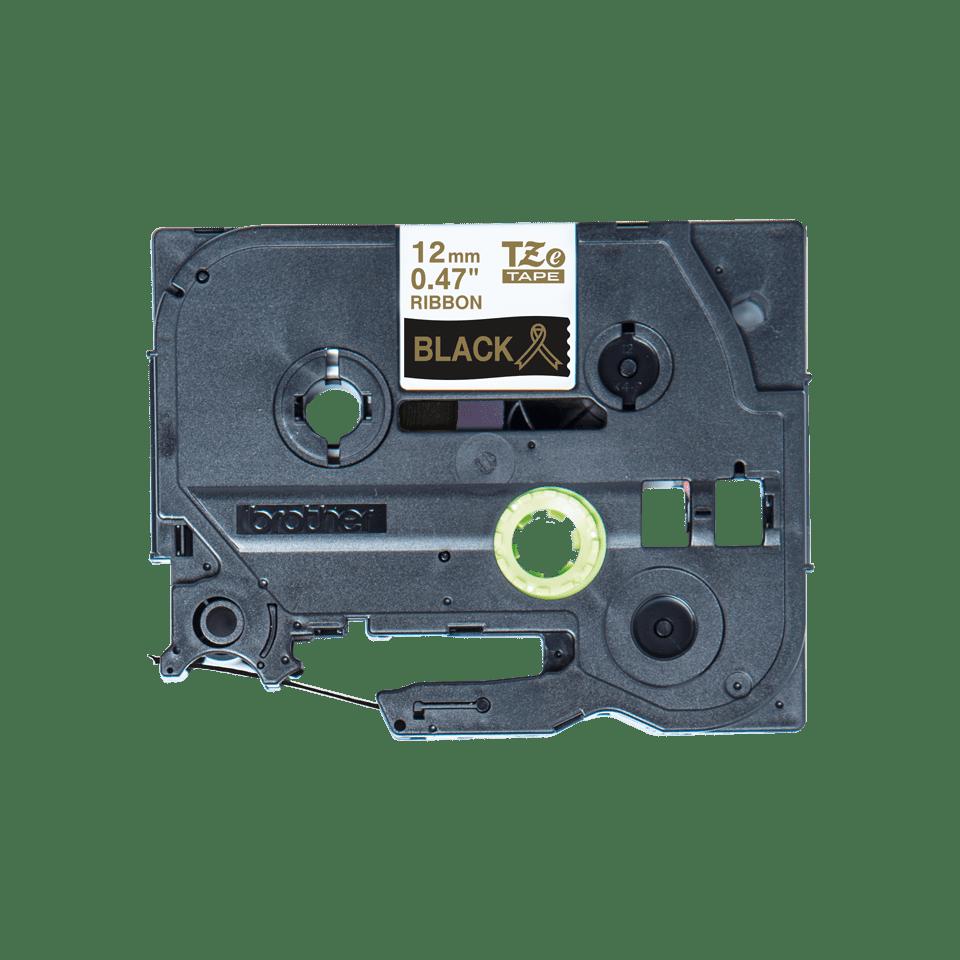 Оригинальная кассета с тканевой лентой TZe-R334 -золотой на черном, ширина 12 мм.