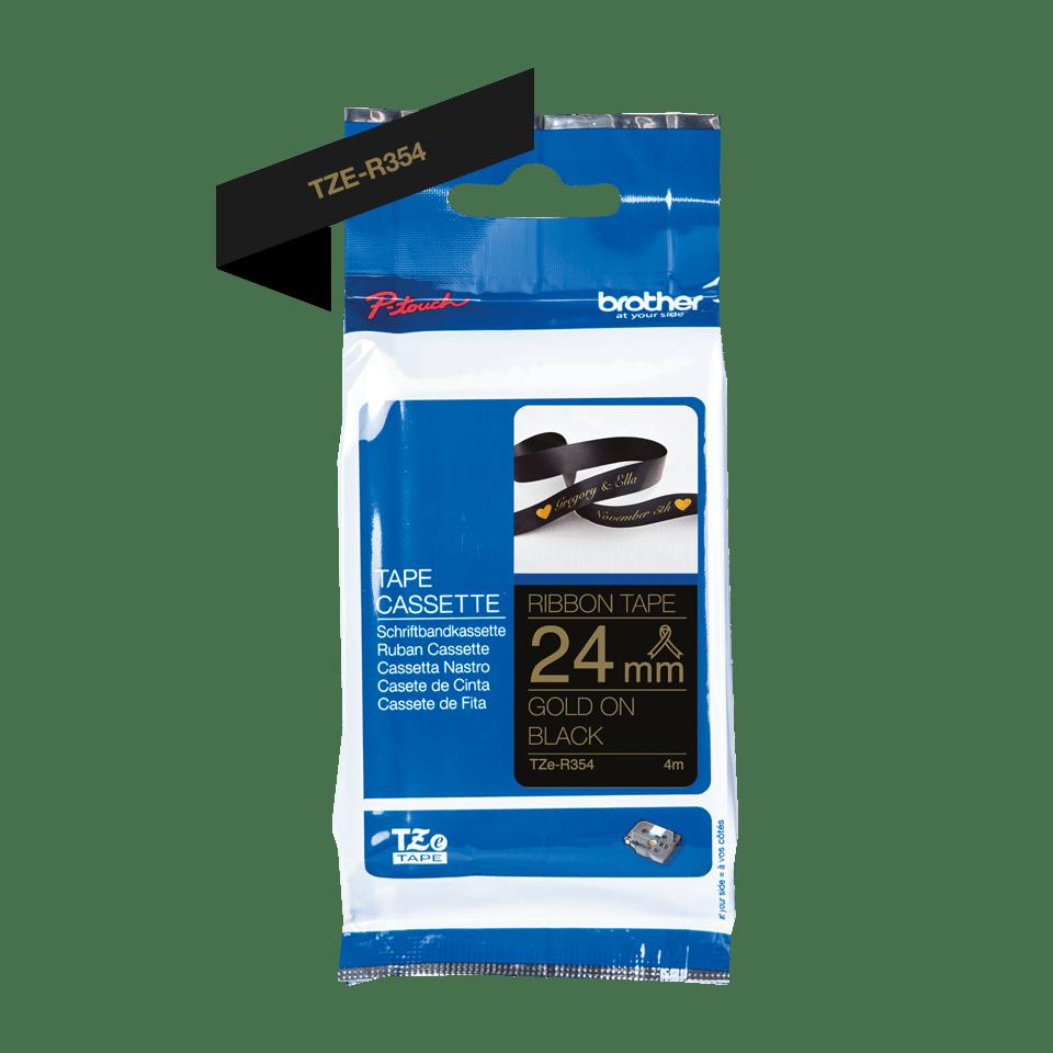 Оригинальная кассета с тканевой лентой TZe-R354 -золотой на черном, ширина 24 мм.