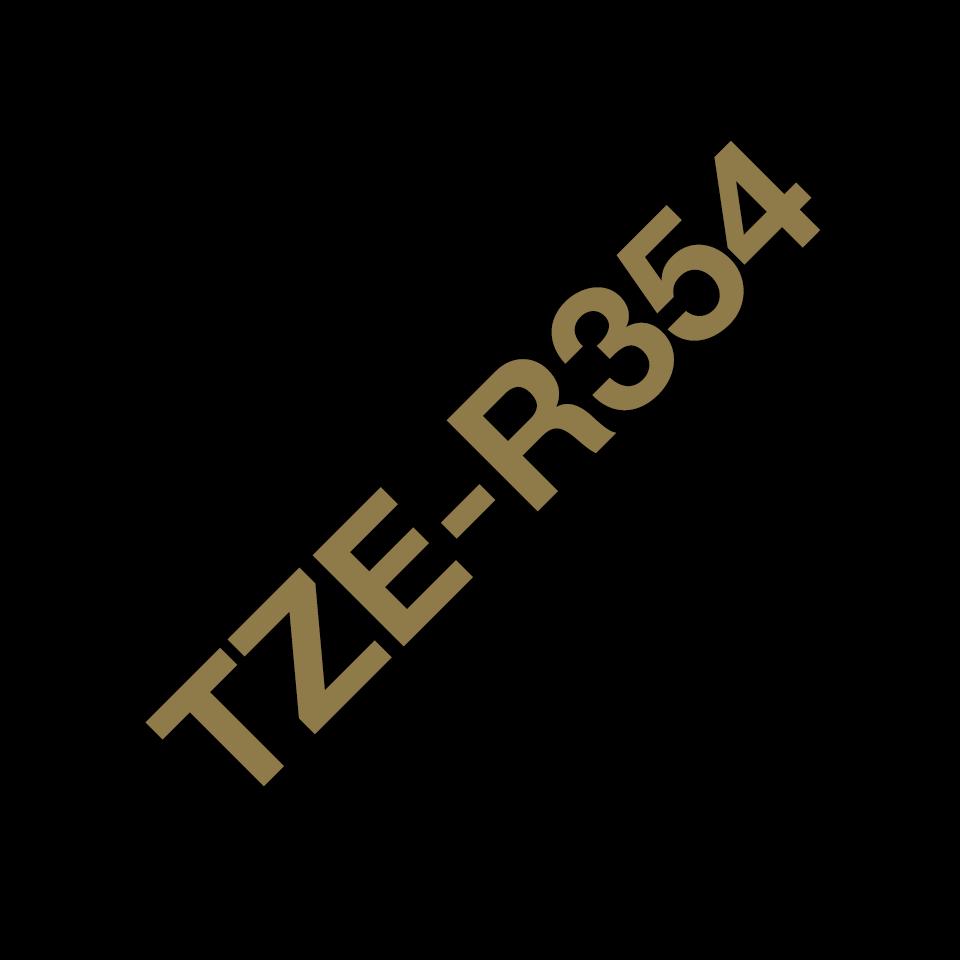 Оригинальная кассета с тканевой лентой TZe-R354 -золотой на черном, ширина 24 мм. 3