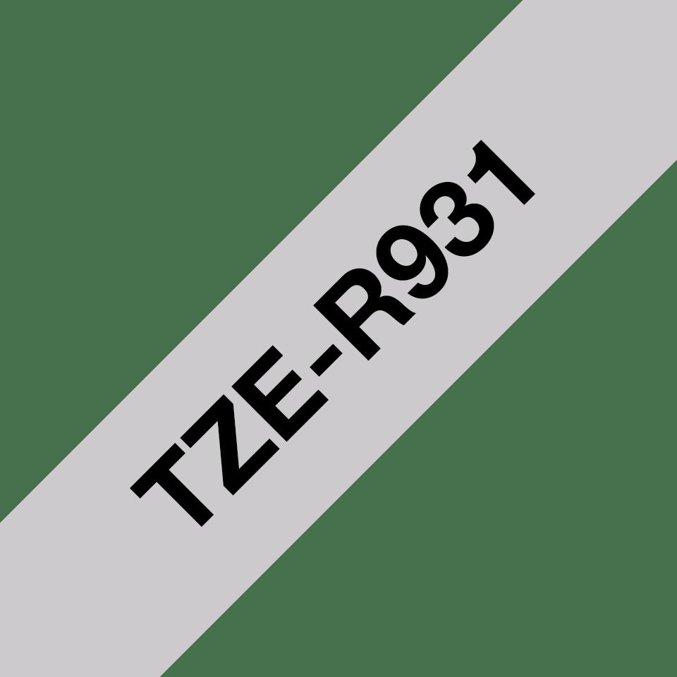 Оригинальная кассета с тканевой лентой TZe-R931 -черный на серебряном, ширина 12 мм. 3