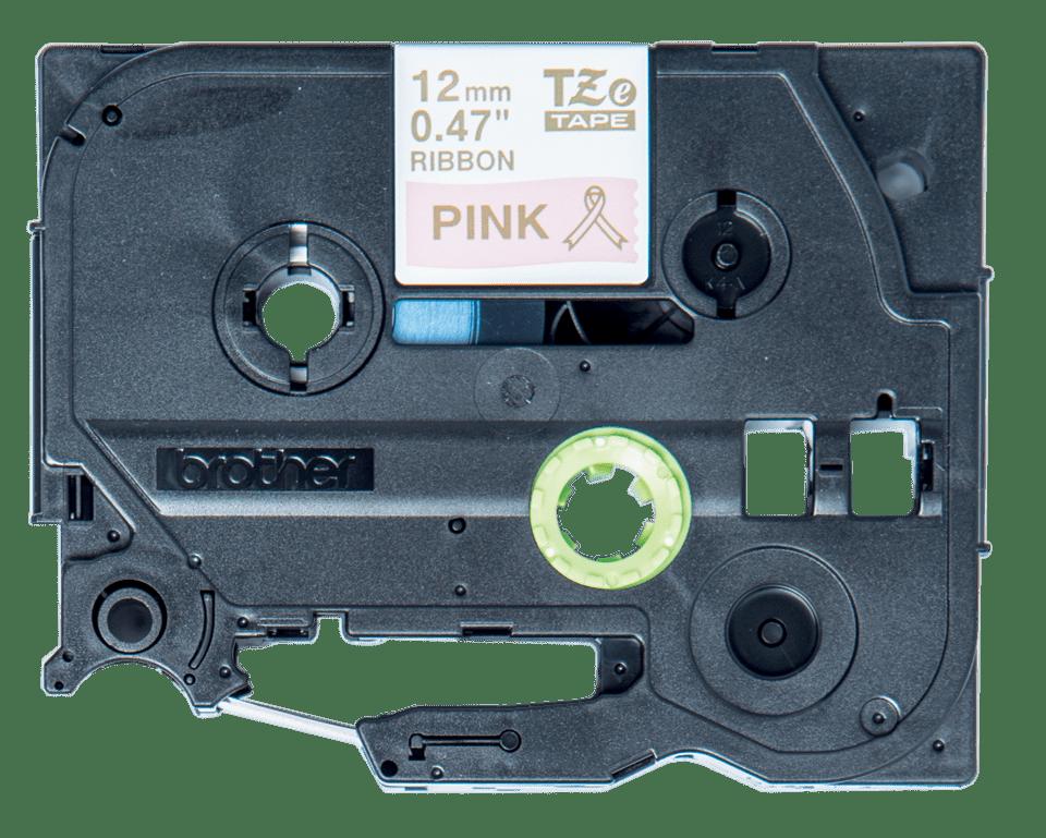 TZeRE34: оригинальная кассета с тесьмяной лентой для печати наклеек золотистым на розовом фоне, ширина 12 мм.