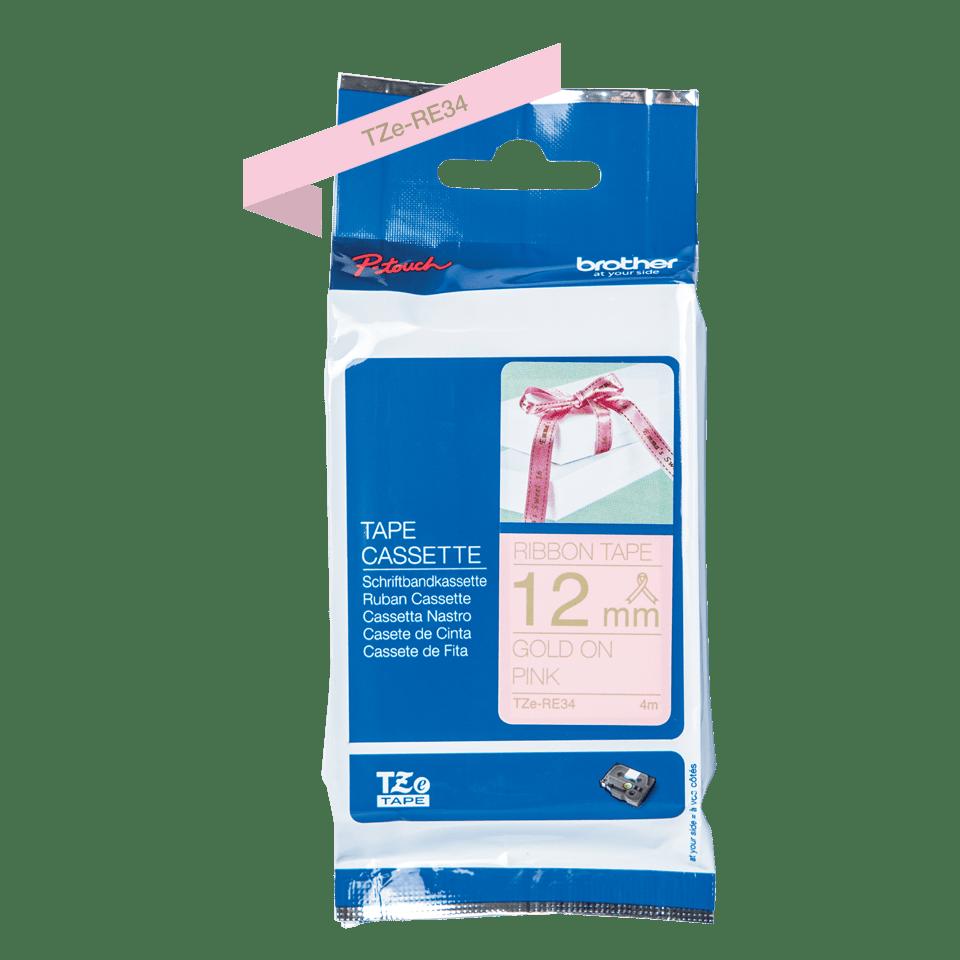 TZeRE34: оригинальная кассета с тесьмяной лентой для печати наклеек золотистым на розовом фоне, ширина 12 мм. 2