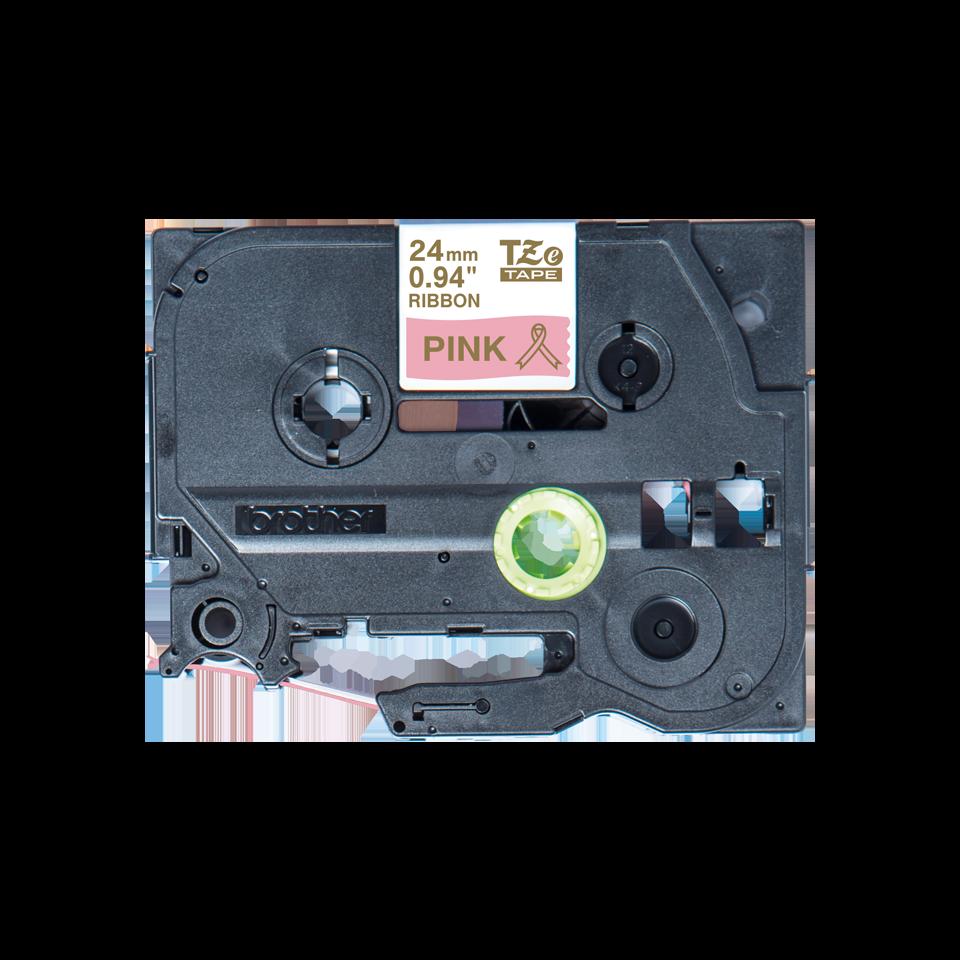 Оригинальная кассета с тканевой лентой TZe-RE54 -золотой на розовом, ширина 24 мм.