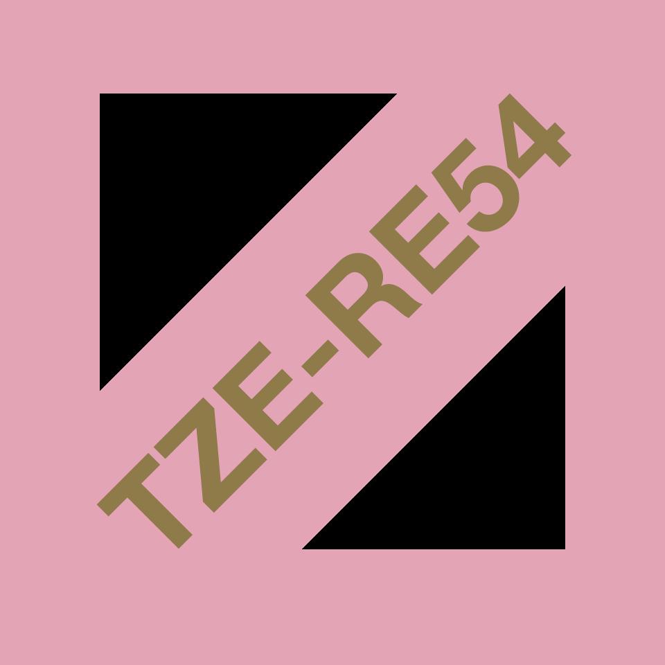 Оригинальная кассета с тканевой лентой TZe-RE54 -золотой на розовом, ширина 24 мм. 3