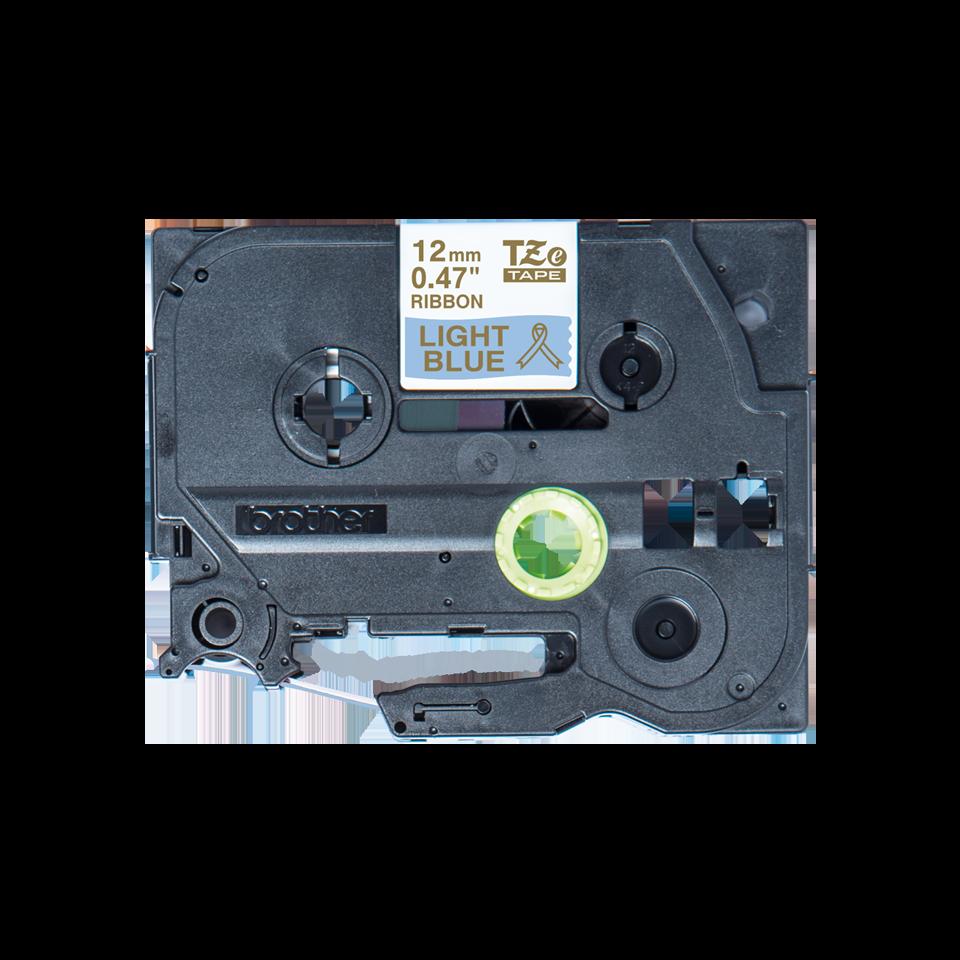 Оригинальная кассета с тканевой лентой TZe-RL34 -золотой на светло-голубом, ширина 12 мм.