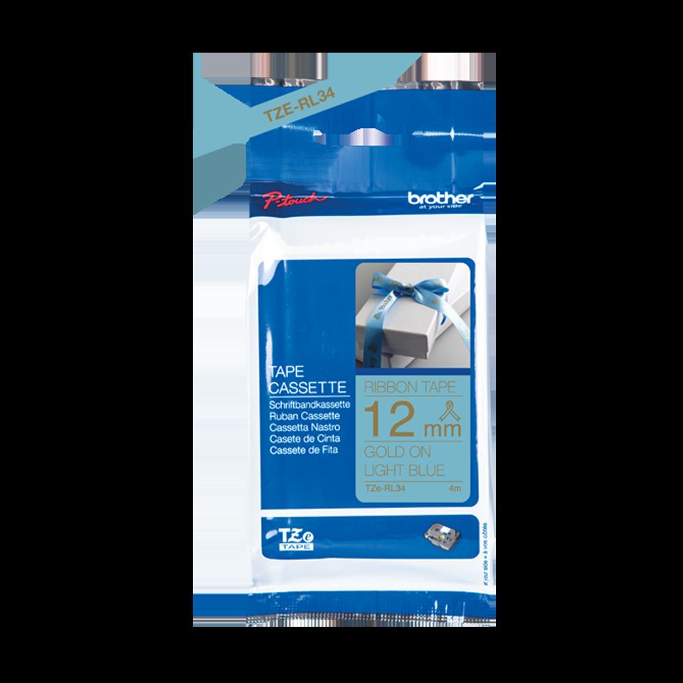 Оригинальная кассета с тканевой лентой TZe-RL34 -золотой на светло-голубом, ширина 12 мм. 2