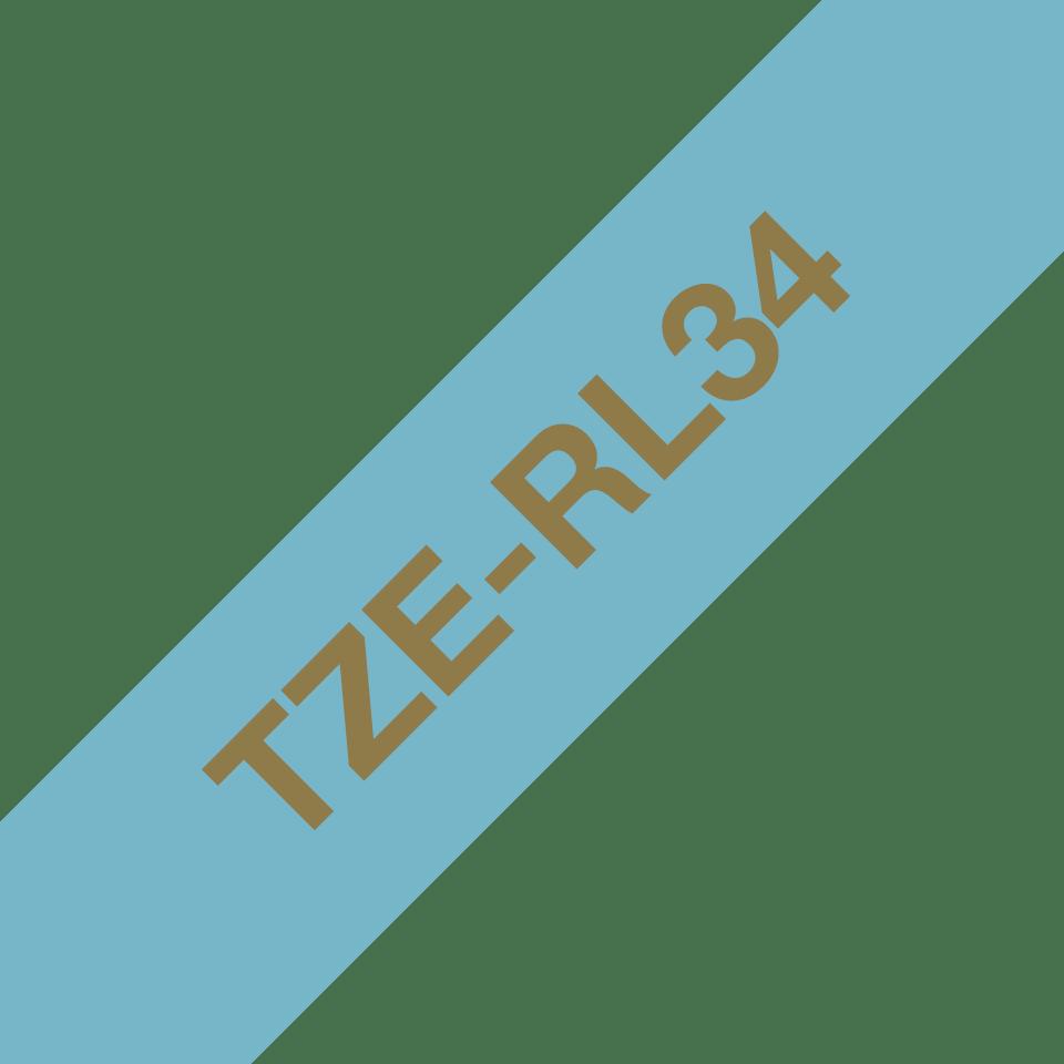 Оригинальная кассета с тканевой лентой TZe-RL34 -золотой на светло-голубом, ширина 12 мм. 3