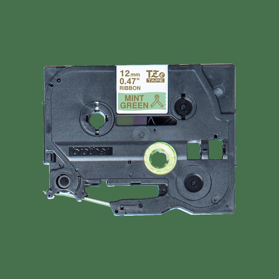 Оригинальная кассета с тканевой лентой TZe-RM34 -золотой на мятно-зелёном, ширина 12 мм.