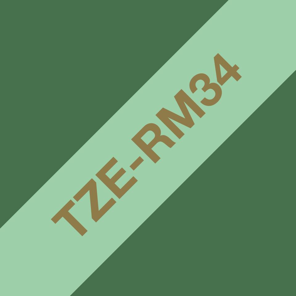 Оригинальная кассета с тканевой лентой TZe-RM34 -золотой на мятно-зелёном, ширина 12 мм. 3