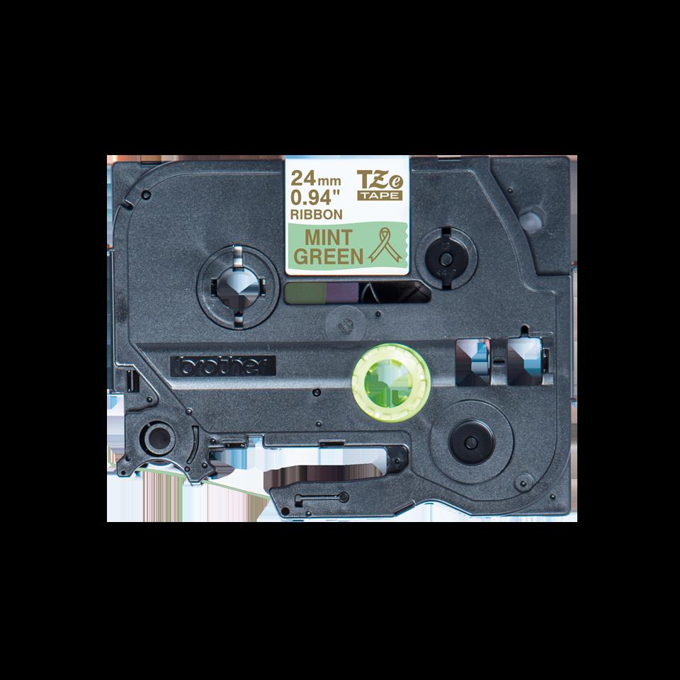 Оригинальная кассета с тканевой лентой TZe-RM54 -золотой на мятно-зелёном, ширина 24 мм.