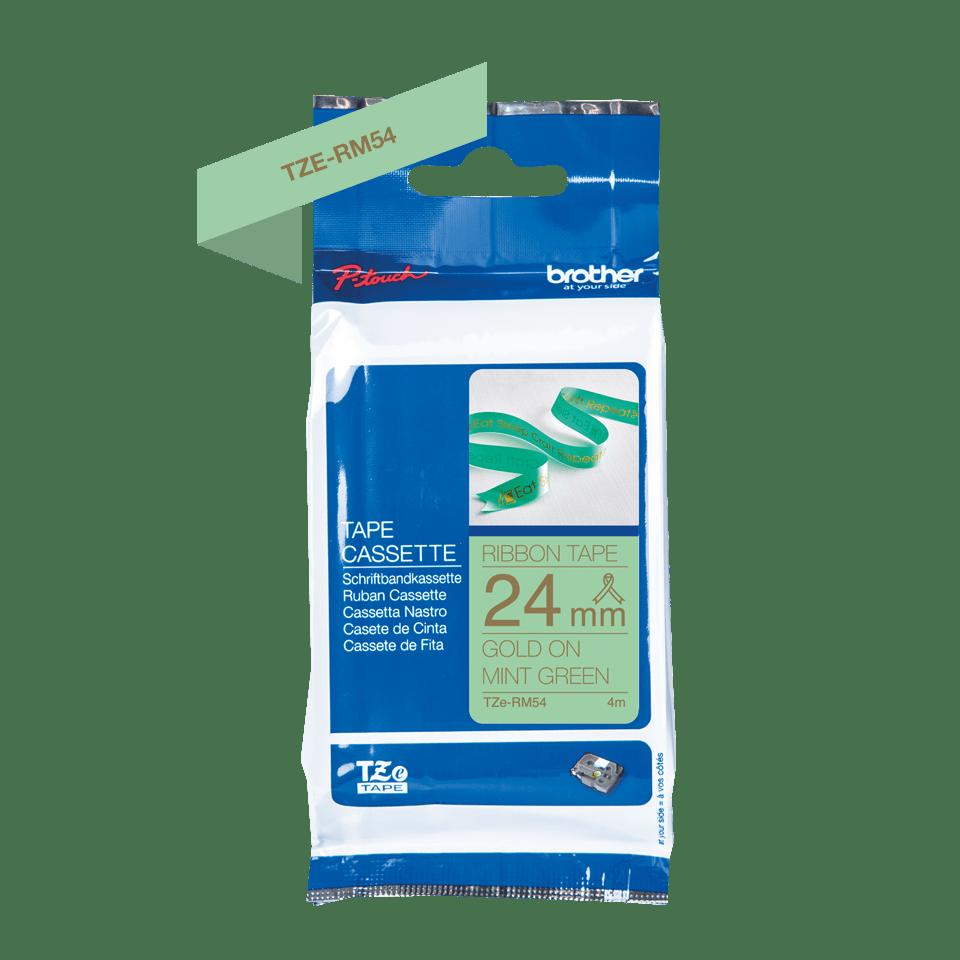 Оригинальная кассета с тканевой лентой TZe-RM54 -золотой на мятно-зелёном, ширина 24 мм. 2