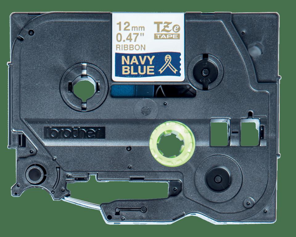 TZeRN34: оригинальная кассета с лентой для печати наклеек золотистым на темно-синем фоне, ширина 12 мм. 2
