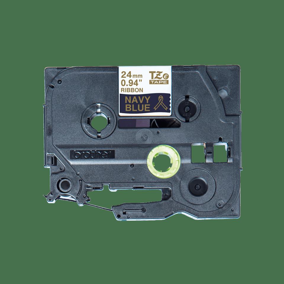 Оригинальная кассета с тканевой лентой TZe-RN54 -золотой на тёмно-синем, ширина 24 мм.
