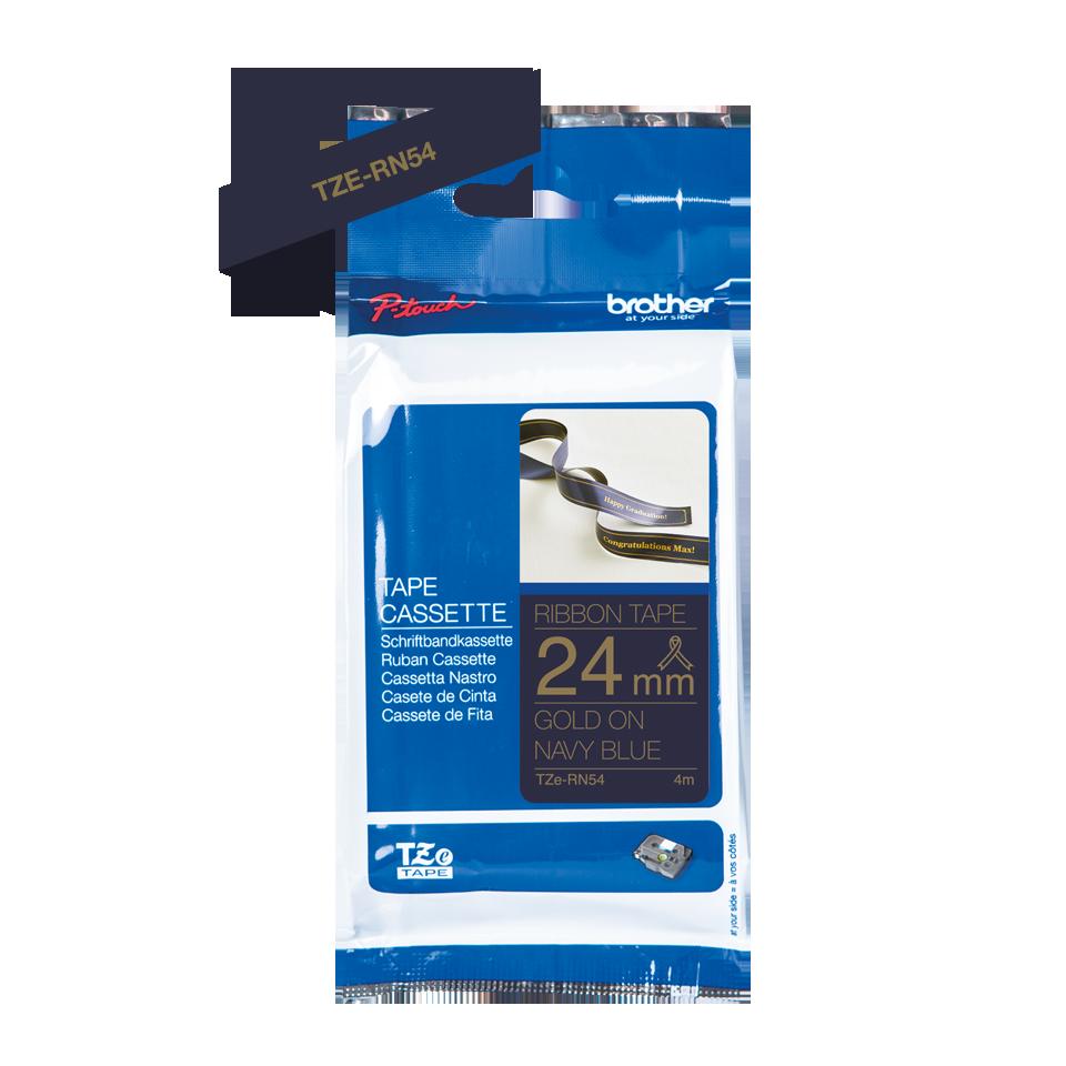 Оригинальная кассета с тканевой лентой TZe-RN54 -золотой на тёмно-синем, ширина 24 мм. 2