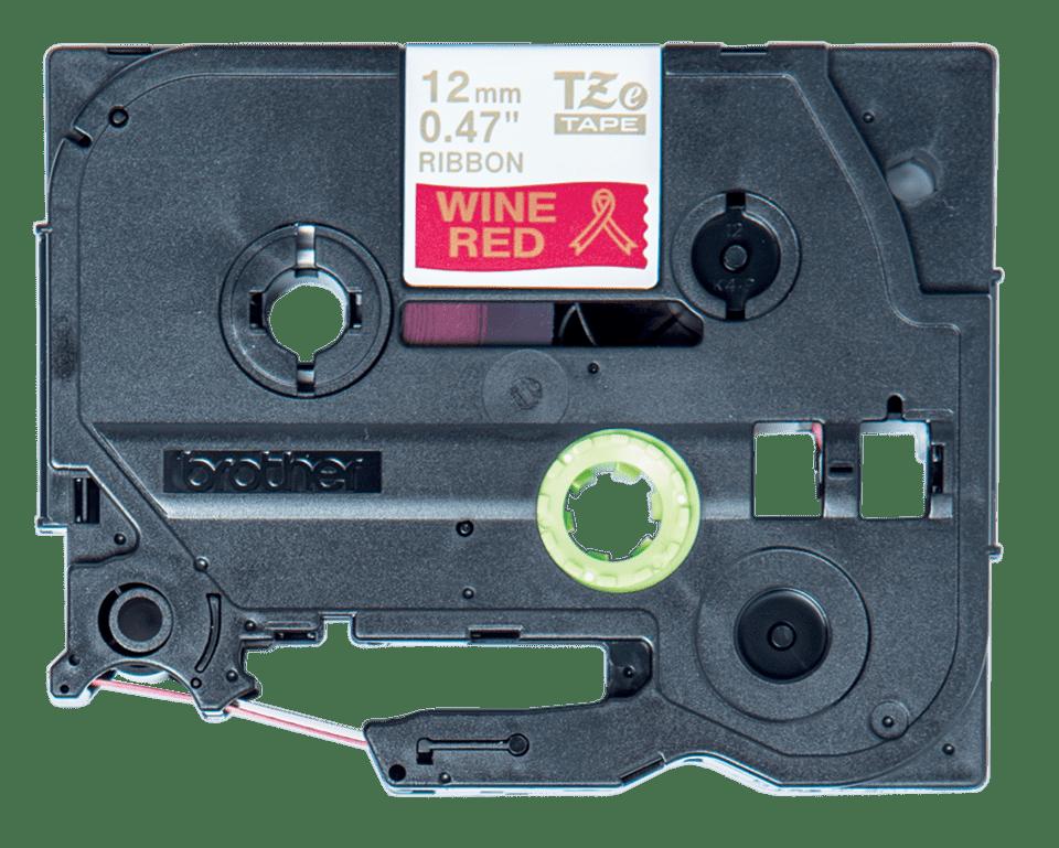 TZeRW34: оригинальная кассета с тесьмяной лентой для печати наклеек золотистым на темно-красном фоне, ширина 12 мм.