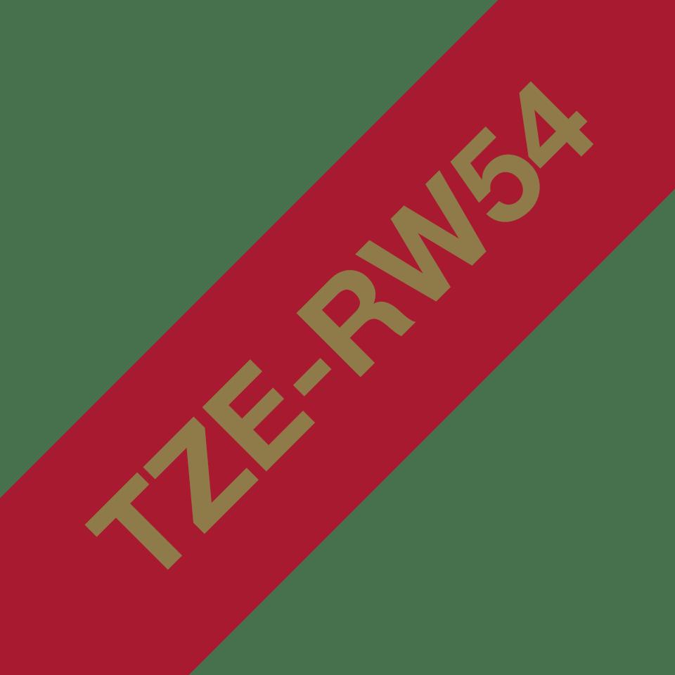 Оригинальная кассета с тканевой лентой TZe-RW54 -золотой на тёмно-красном, ширина 24 мм. 3