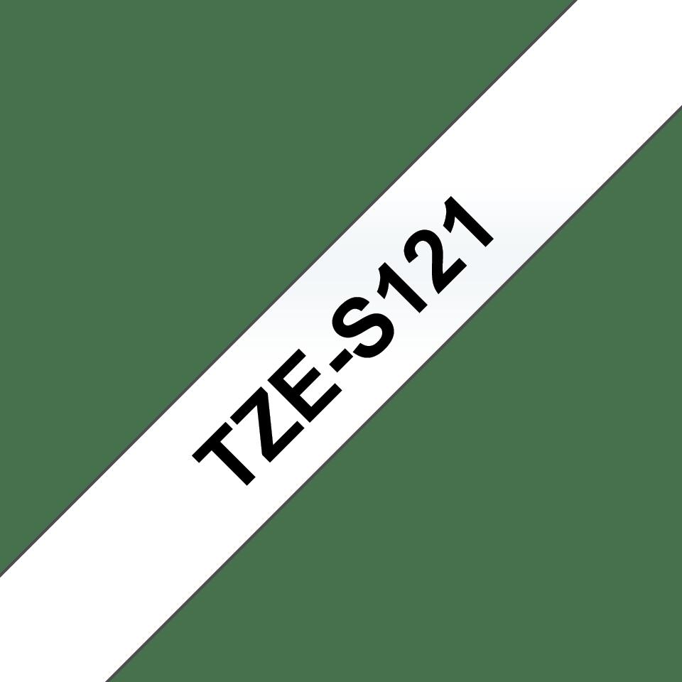 Brother TZeS121: оригинальная кассета с лентой с мощной клейкой поверхностью для печати наклеек черным на прозрачном фоне, ширина: 9 мм. 3