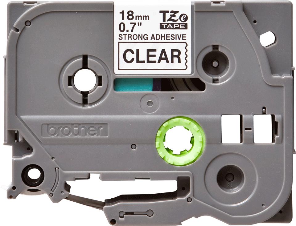 Brother TZeS141: оригинальная кассета с лентой с мощной клейкой поверхностью для печати наклеек черным на прозрачном фоне, ширина: 18 мм.