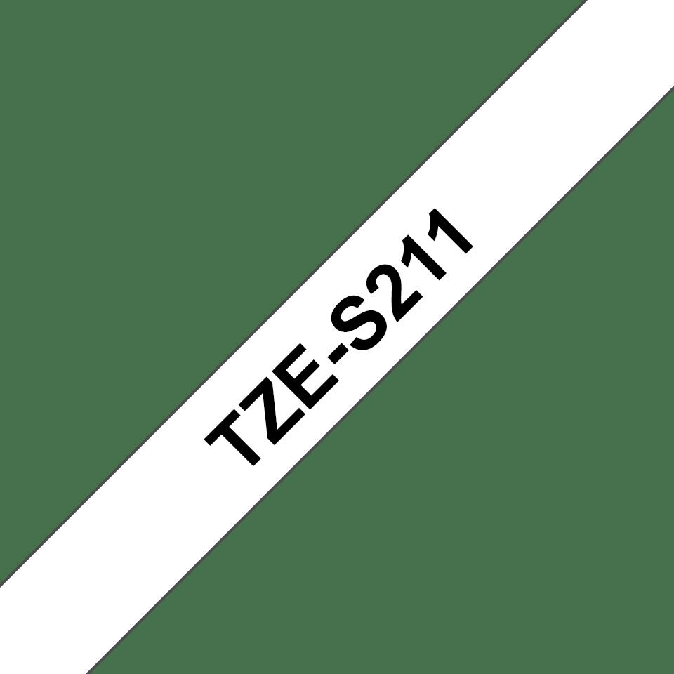 Brother TZeS211: оригинальная кассета с лентой с мощной клейкой поверхностью для печати наклеек черным на белом фоне, ширина: 6 мм. 3