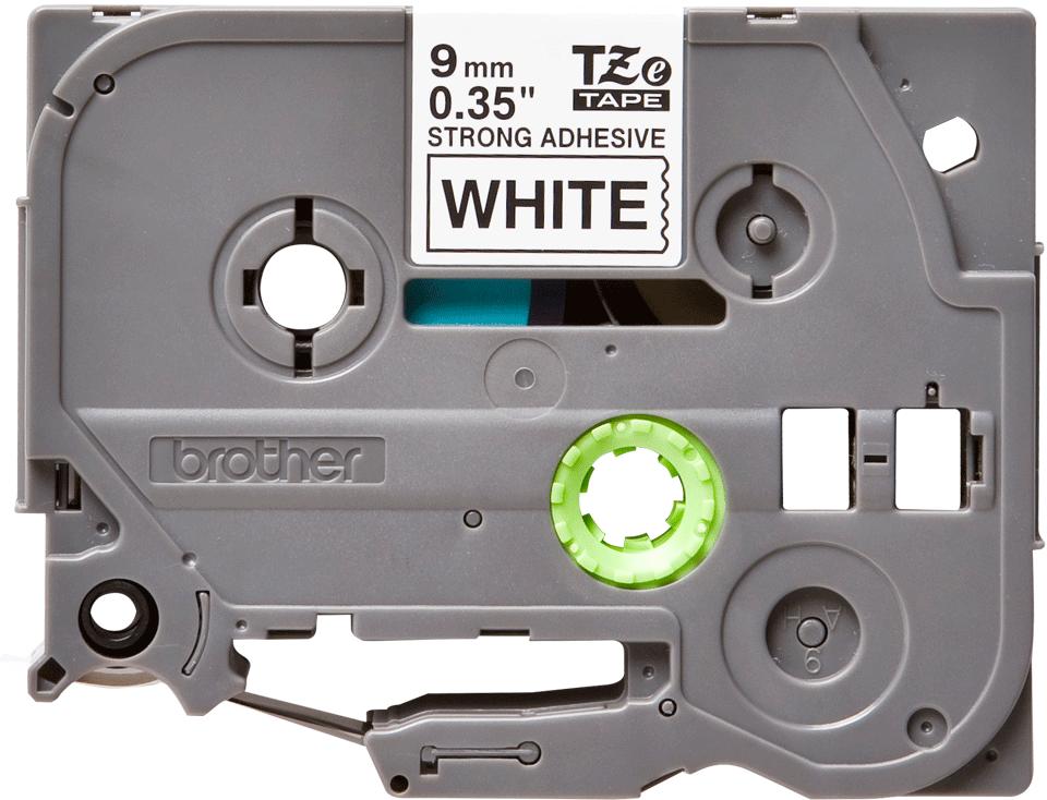 Brother TZeS221: оригинальная кассета с лентой с мощной клейкой поверхностью для печати наклеек черным на белом фоне, ширина: 9 мм.