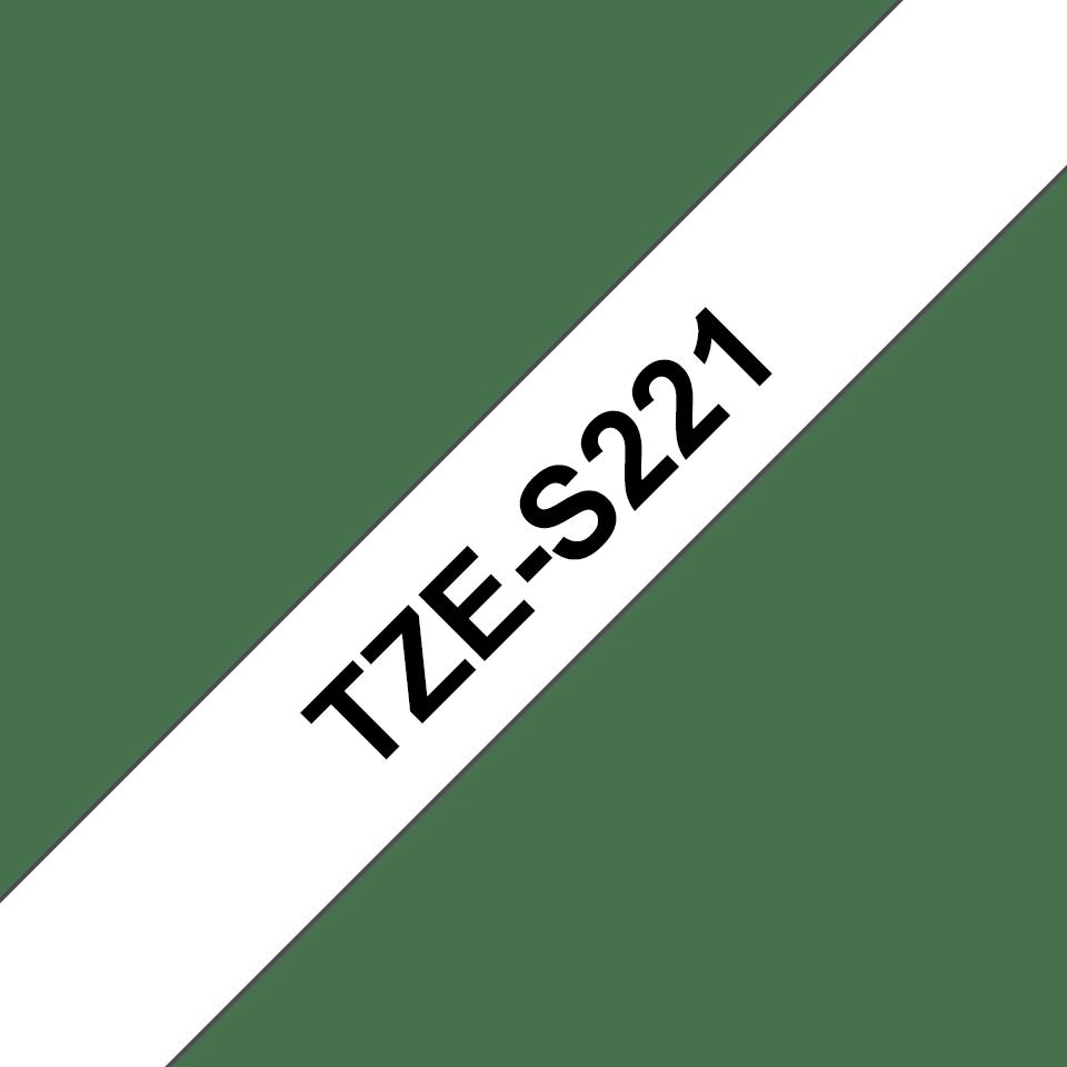 Brother TZeS221: оригинальная кассета с лентой с мощной клейкой поверхностью для печати наклеек черным на белом фоне, ширина: 9 мм. 3