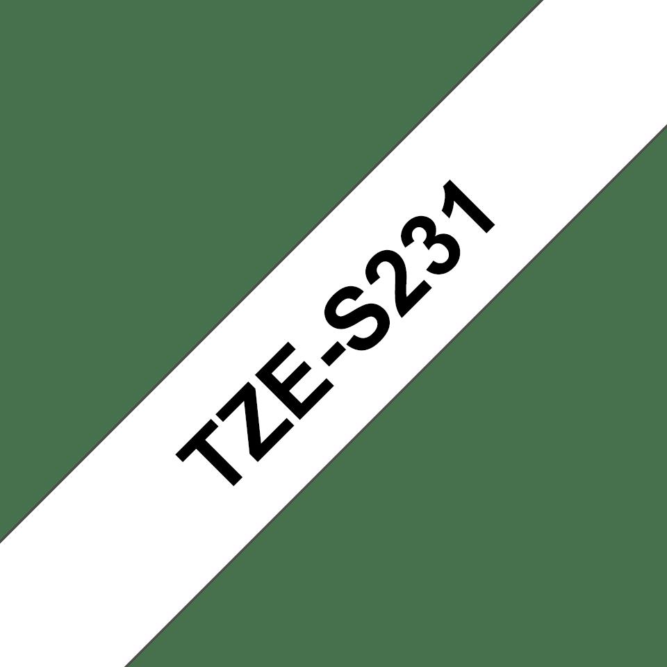 Brother TZeS231: оригинальная кассета с лентой для печати наклеек черным на белом фоне, ширина: 12 мм. 3