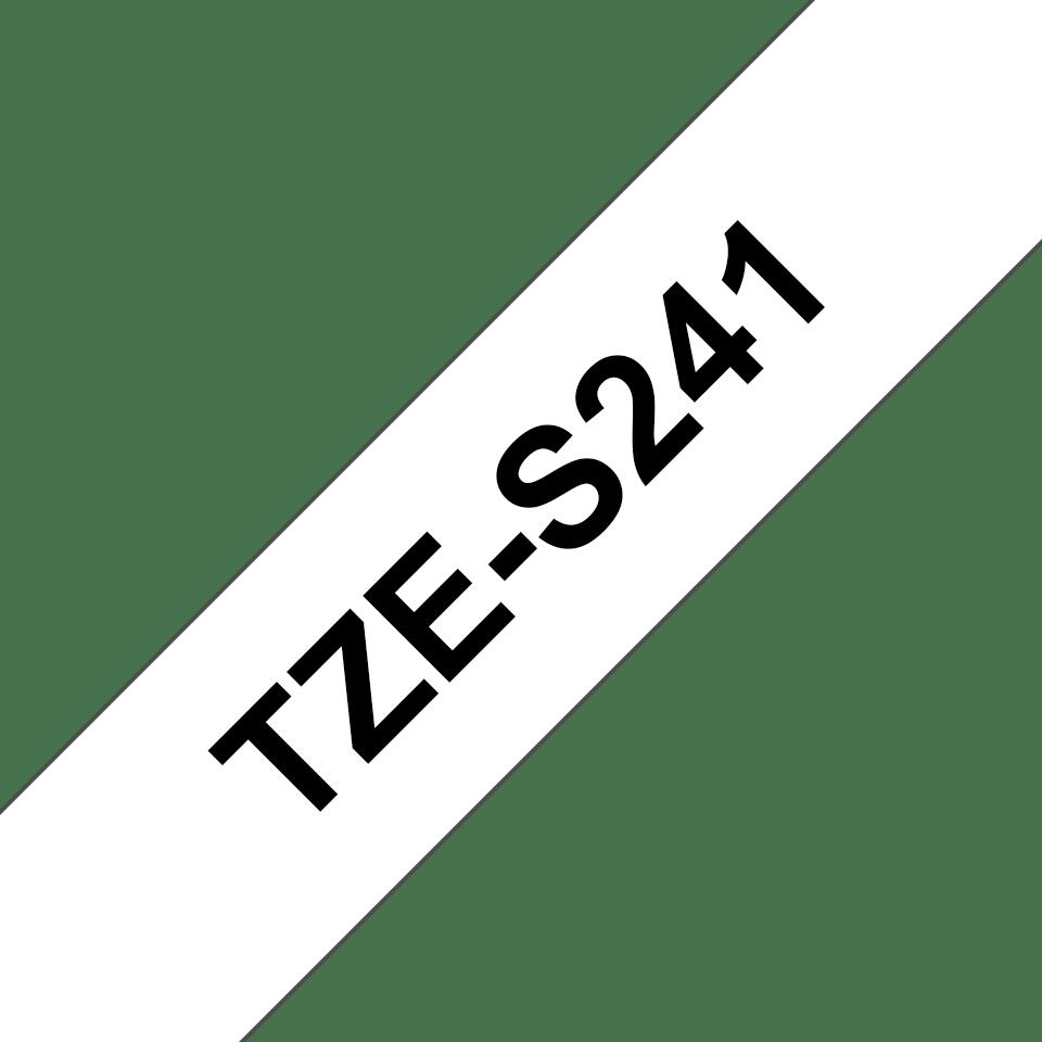 Brother TZeS241: оригинальная кассета с лентой с мощной клейкой поверхностью для печати наклеек черным на белом фоне, ширина: 18 мм. 3