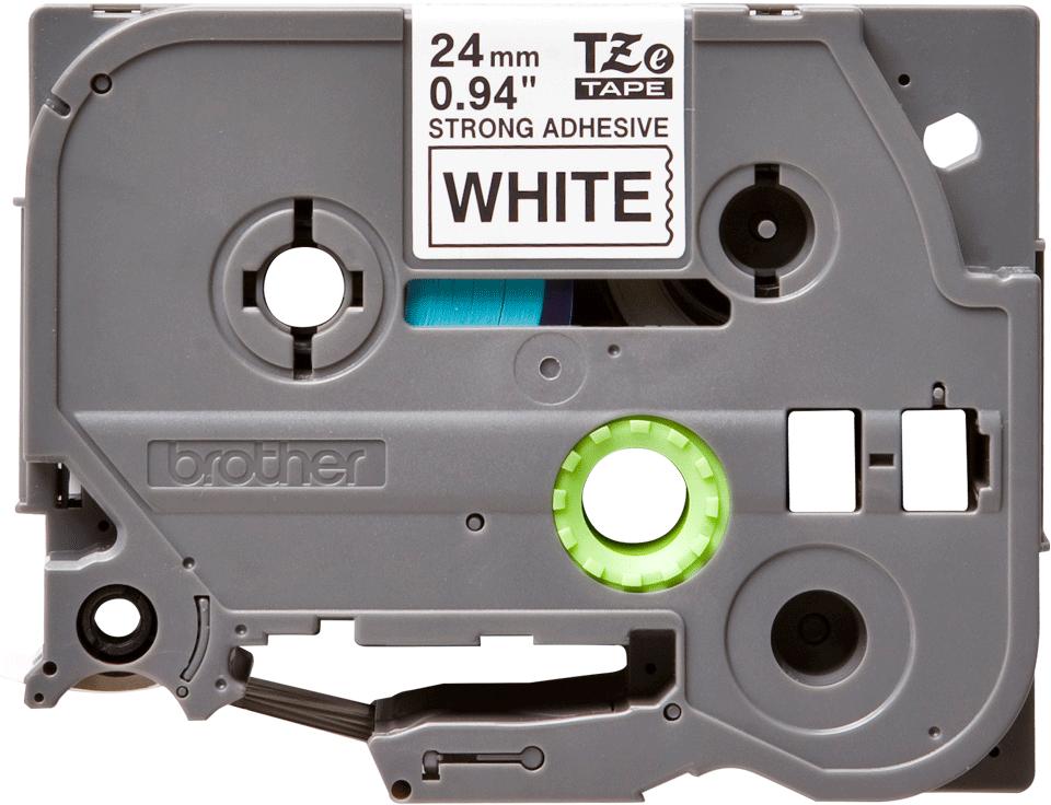 Brother TZeS251: оригинальная кассета с лентой для печати наклеек черным на белом фоне, ширина 24 мм.