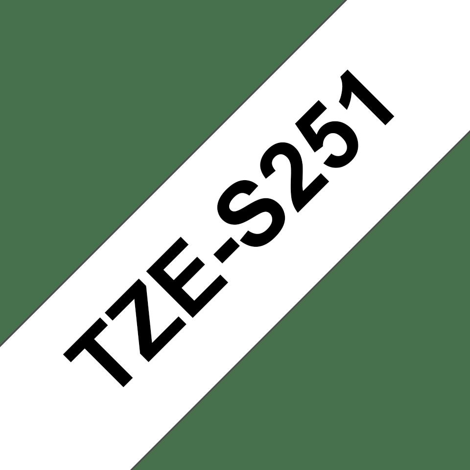 Brother TZeS251: оригинальная кассета с лентой для печати наклеек черным на белом фоне, ширина 24 мм. 3