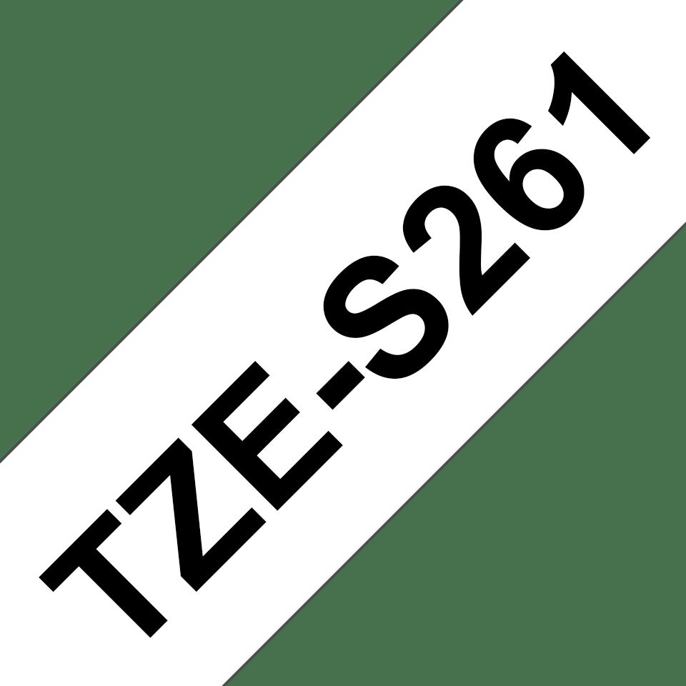 Brother TZeS261: оригинальная кассета с лентой с мощной клейкой поверхностью для печати наклеек черным на белом фоне, ширина: 36 мм. 3