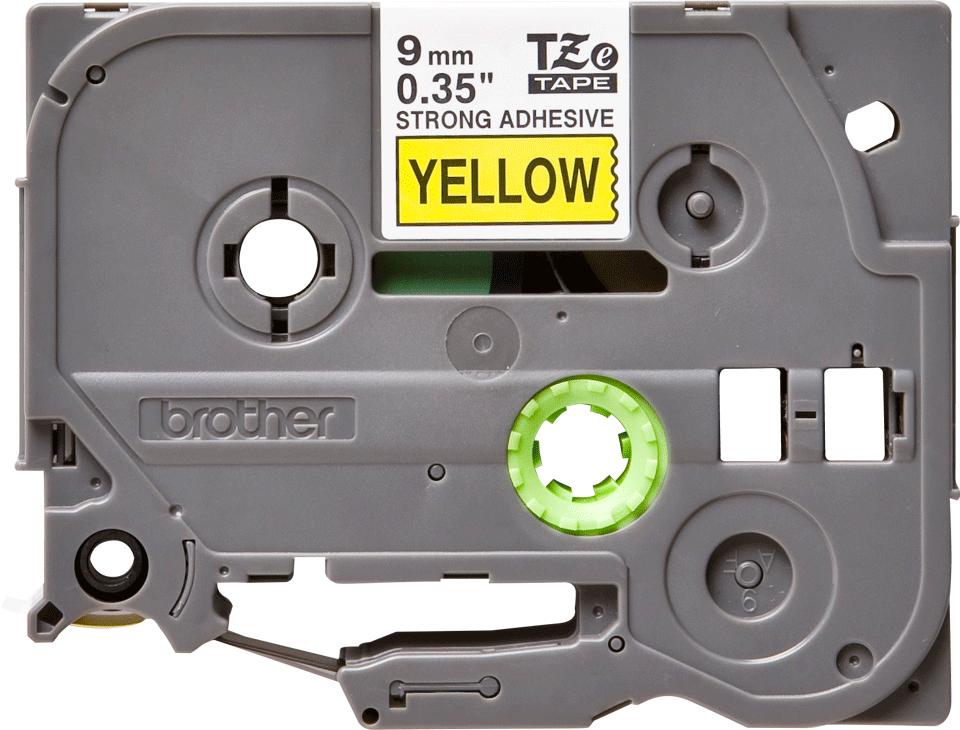 Brother TZeS621: оригинальная кассета с лентой с мощной клейкой поверхностью для печати наклеек черным на желтом фоне, ширина: 9 мм.