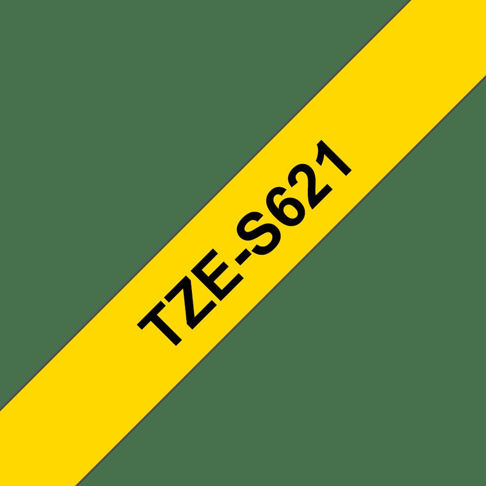 Brother TZeS621: оригинальная кассета с лентой с мощной клейкой поверхностью для печати наклеек черным на желтом фоне, ширина: 9 мм. 3