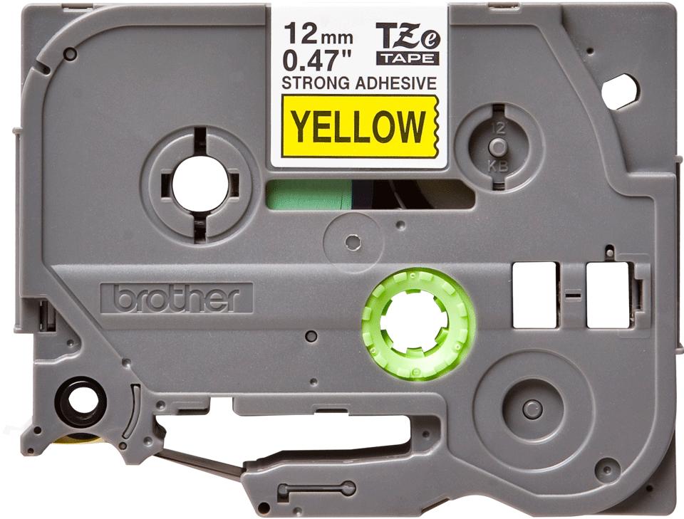 Brother TZeS631: оригинальная кассета с лентой с мощной клейкой поверхностью для печати наклеек черным на желтом фоне, ширина: 12 мм.