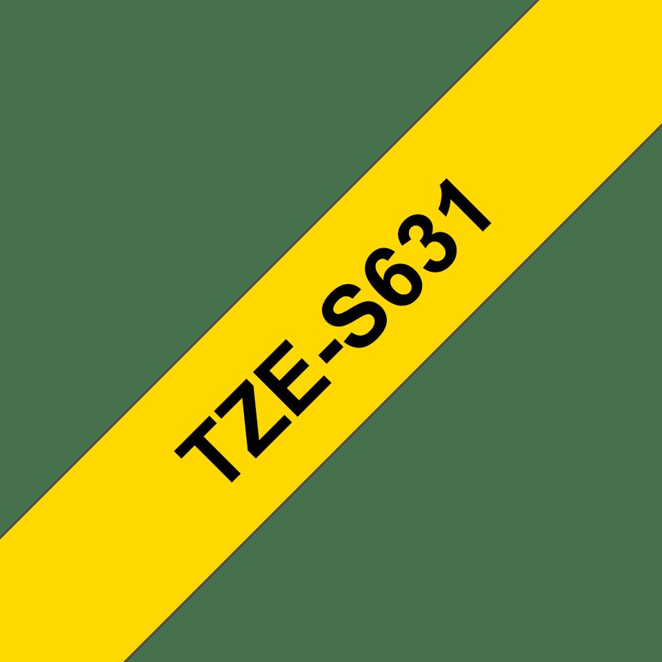 Brother TZeS631: оригинальная кассета с лентой с мощной клейкой поверхностью для печати наклеек черным на желтом фоне, ширина: 12 мм. 3
