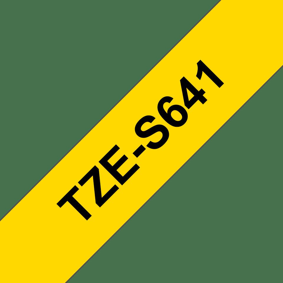 Brother TZeS641: оригинальная кассета с лентой с мощной клейкой поверхностью для печати наклеек черным на желтом фоне, ширина: 18 мм. 3