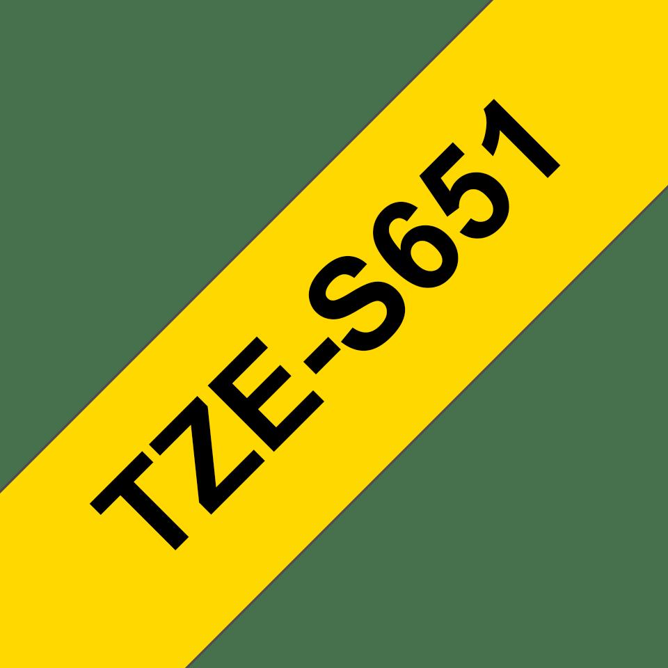 Brother TZeS651: оригинальная кассета с лентой с мощной клейкой поверхностью для печати наклеек черным на желтом фоне, ширина: 24 мм. 3